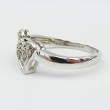 9ct White Gold Diamond Heart Cluster Ring Size M 0.07ct - Richard Miles Jewellers