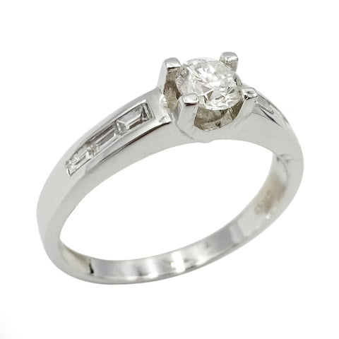 18ct White Gold Ladies Diamond Baguette Engagement Ring Size N  0.75ct