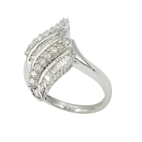 9ct White Gold Diamond Cluster Wave Ring M1/2 0.50ct