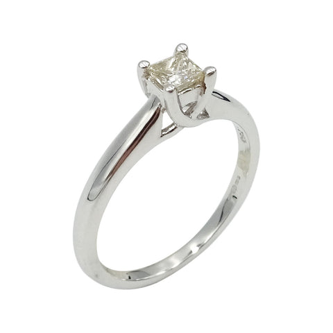 18ct White Gold Princess Cut Diamond Solitaire Ring Size N 0.33ct