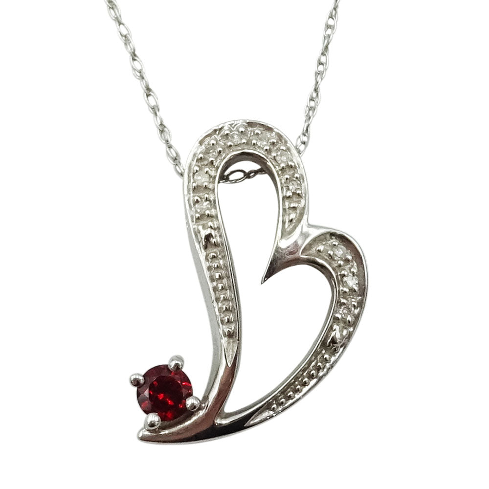 "9ct White Gold Diamond & Garnet Heart Pendant With 18"" Spiga Chain 3.3g - Richard Miles Jewellers"
