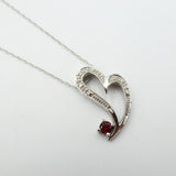 "9ct White Gold Diamond & Garnet Heart Pendant With 18"" Spiga Chain - Richard Miles Jewellers"