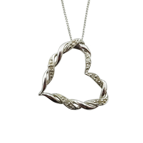 "9ct White Gold Twisted Diamond Heart Design Pendant & 20"" Chain - Richard Miles Jewellers"