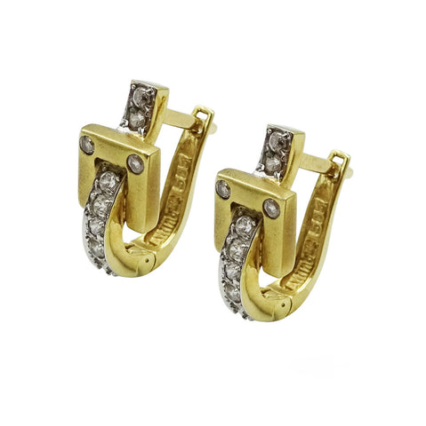 14ct Yellow Gold Cubuc Zirconia Belt Design Earrings 3.8g - Richard Miles Jewellers