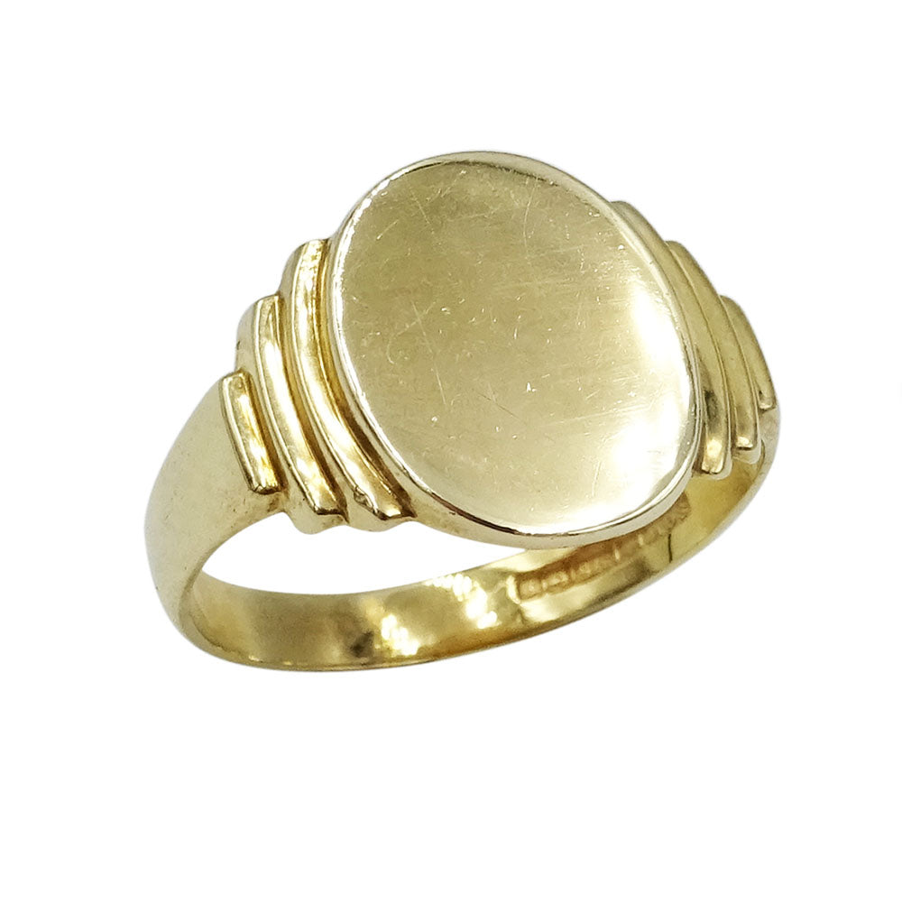 9ct Gold Oval Gents Signet Ring Size S 3.6g - Richard Miles Jewellers