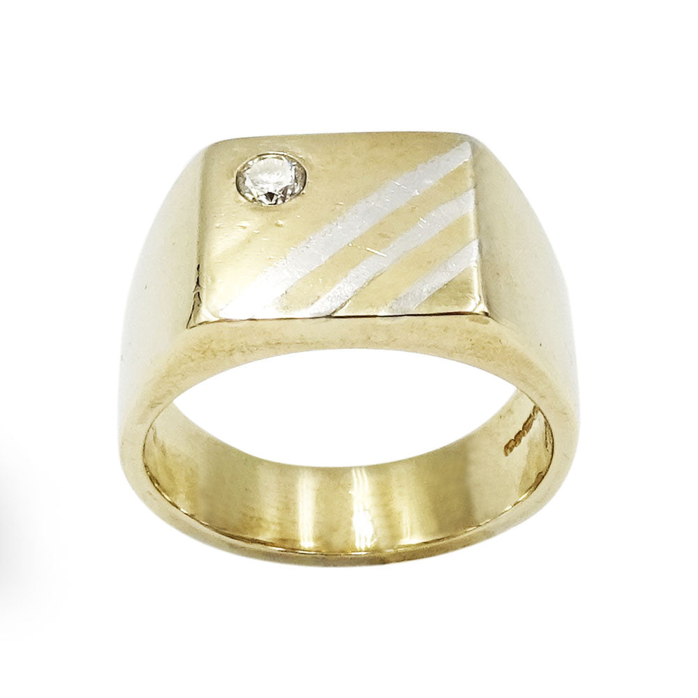 9ct Yellow Gold Gents Striped Diamond Ring 13.8g Size T - Richard Miles Jewellers