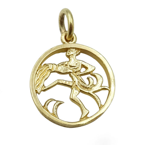 9ct Yellow Gold Round Aquarius Zodiac Pendant 2.3g - Richard Miles Jewellers