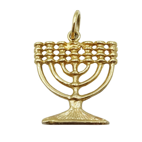 9ct Yellow Gold Menorah Hanukkah Pendant 2.2g