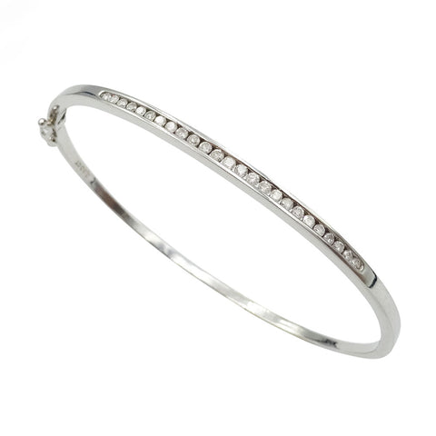 9ct White Gold Ladies Channel Set Diamond Bangle 0.50ct