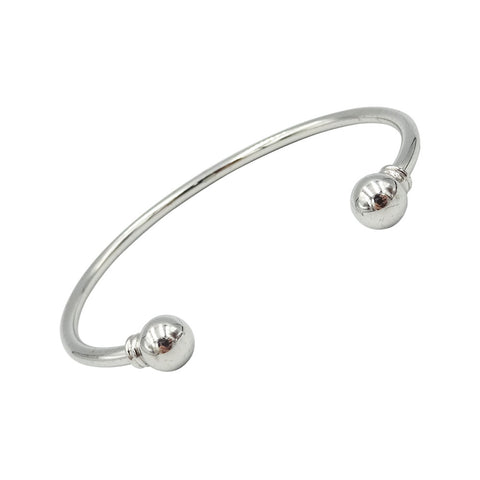 9ct White Gold Plain Torque Style Bangle 14.6g - Richard Miles Jewellers