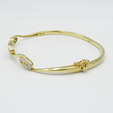 9ct Gold Diamond Bangle Set Oval Swirl Design 0.10ct - Richard Miles Jewellers