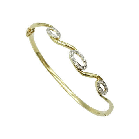 9ct Yellow Gold Diamond Set Oval Swirl Design Bangle 0.10ct - Richard Miles Jewellers
