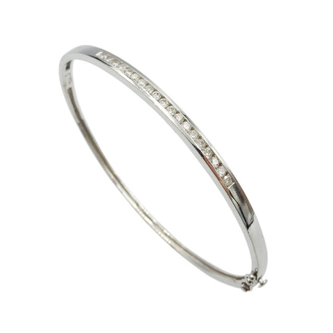 9ct White Gold Ladies Channel Set Diamond Bracelet 0.40ct - Richard Miles Jewellers