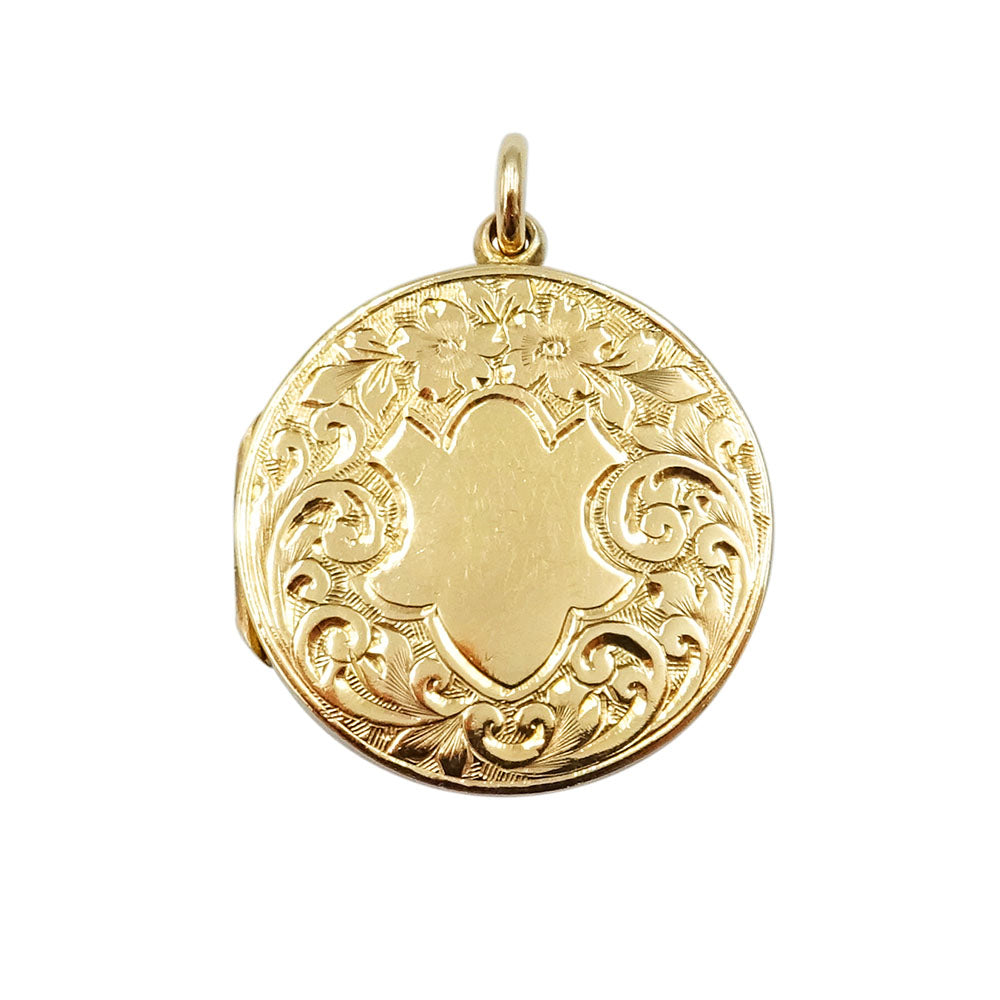 9ct Yellow Gold Vintage Floral Design Locket 5.6g - Richard Miles Jewellers