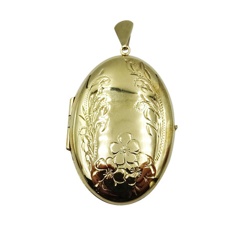 9ct Yellow Gold Ladies Large Floral Oval Locket 5.6g