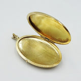 9ct Yellow Gold Ladies Large Floral Oval Locket 5.6g - Richard Miles Jewellers
