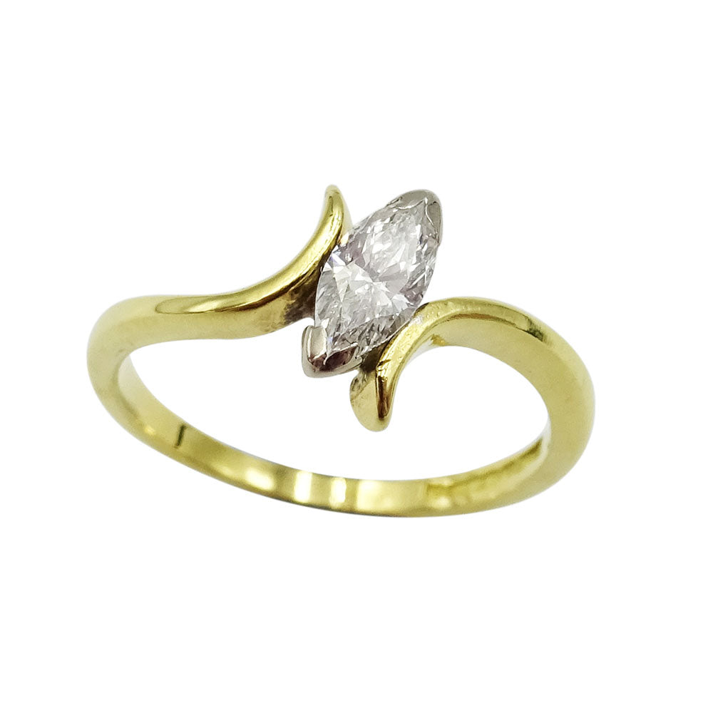 18ct Yellow Gold Ladies Marquise Diamond 0.30ct Ring Size I - Richard Miles Jewellers