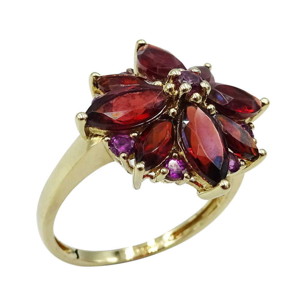 9ct Yellow Gold Ladies Garnet Flower Cluster Ring Size R - Richard Miles Jewellers