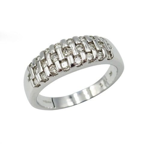 9ct White Gold Diamond Lattice Design Ring 0.50ct