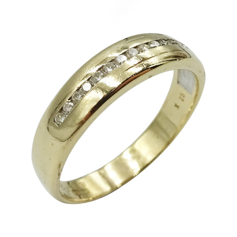 9ct Yellow Gold Gents Channel Set Diamond Ring Size X 1/2