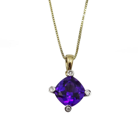9ct  Yellow Gold Amethyst & Diamond Pendant With Box Chain 1.8g - Richard Miles Jewellers