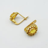 18ct Portuguese Gold Oval Citrine French Clip Earrings - Richard Miles Jewellers