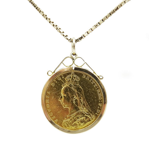 22ct 1888 Queen Victoria Full Sovereign & Box Chain 15.6g - Richard Miles Jewellers