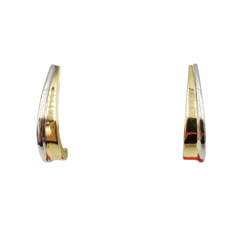 9ct Two Colour Gold Curved Ladies Stud Earrings 1g - Richard Miles Jewellers