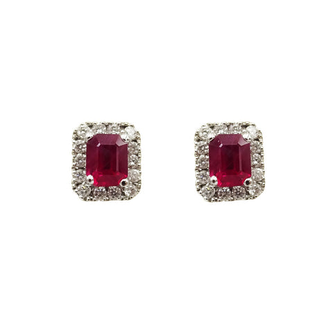 18ct White Gold Ruby & Diamond Emerald Cut Earrings - Richard Miles Jewellers