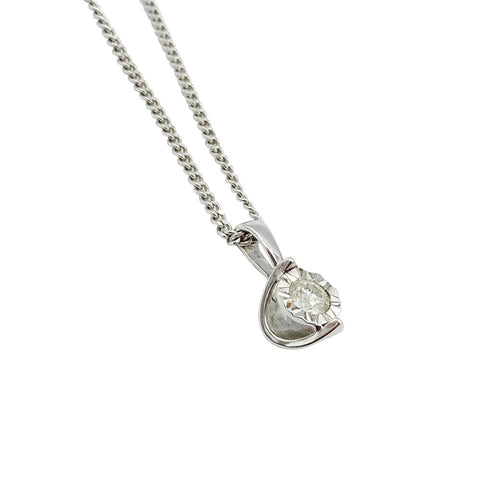 9ct White Gold Diamond Pendant 0.20ct Curb Chain 3.2g - Richard Miles Jewellers