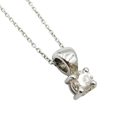 18ct White Gold Claw Set Diamond Pendant & Belcher Chain 0.33ct - Richard Miles Jewellers