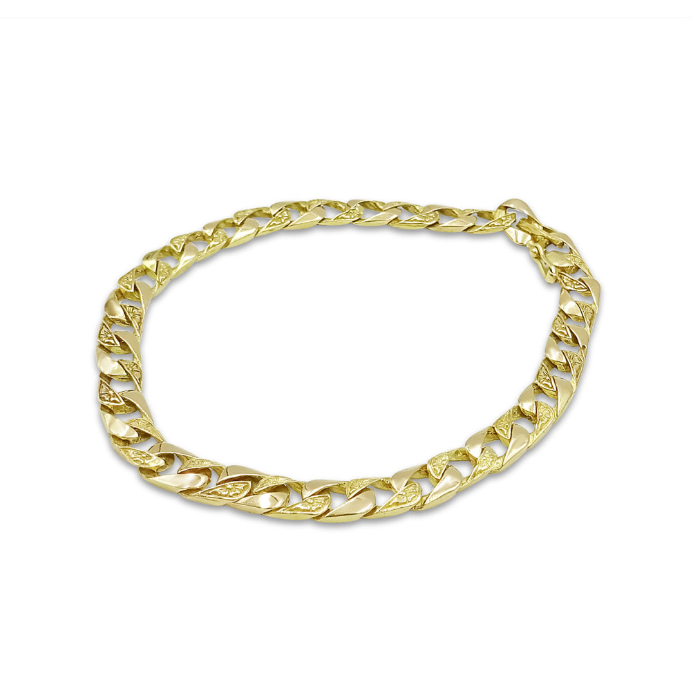 14ct Gold Mens Curb Bracelet 9 inches