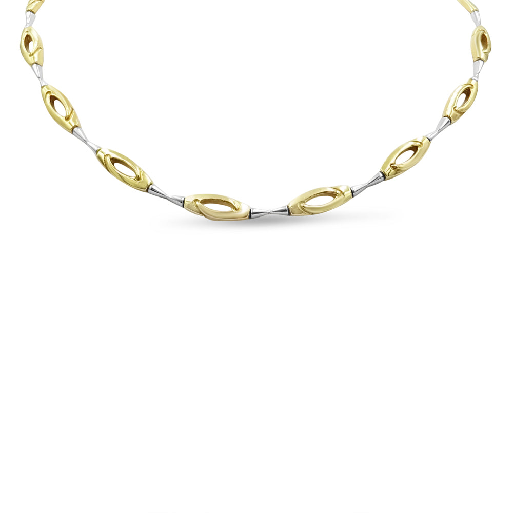9ct Two Coloured Gold Oval Necklace