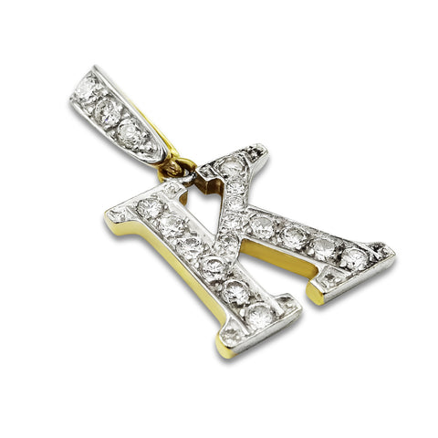 9ct Gold K Initial Pendant 16mm