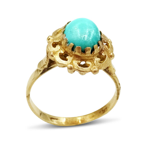 14ct Gold Ladies Turquoise Ring Size P