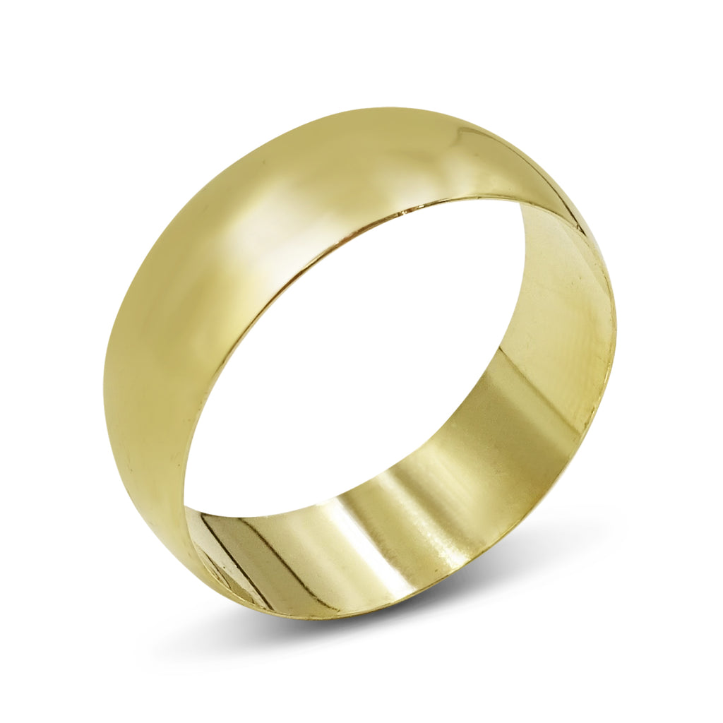 9ct Gold Wedding Band 8mm Size Y 1/2