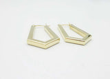 9ct Gold Geometric Ladies Hoop Earrings
