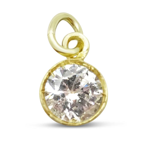 14ct Gold CZ Pendant 6mm