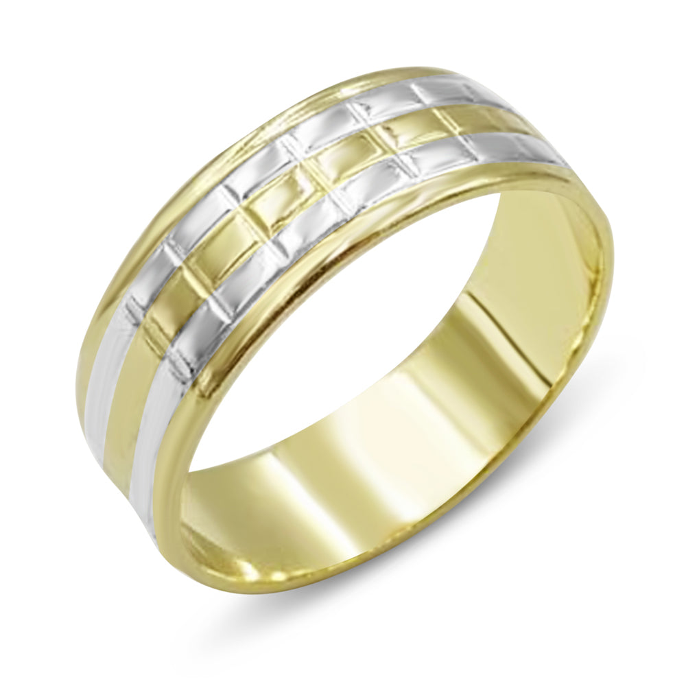14ct 2 Coloured Gold Wedding Band Mens
