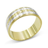 14ct 2 Coloured Gold Wedding Band Ladies