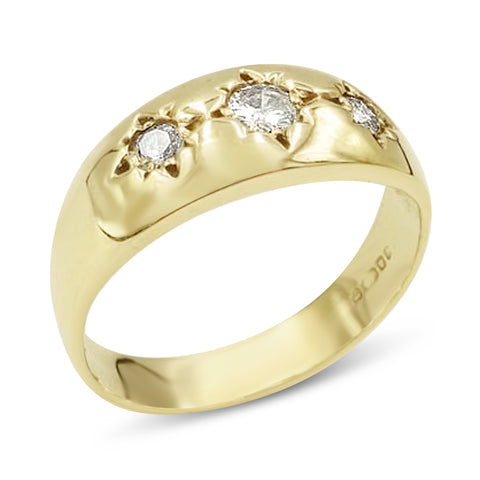 9ct Gold 3 Diamond Gypsy Ring