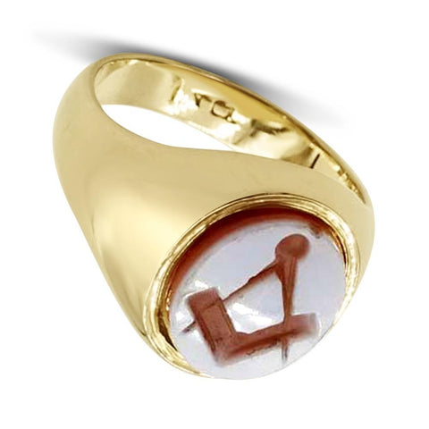 14ct Gold Carnelian Masonic Signet Ring