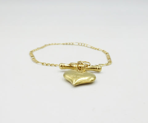 9ct Gold Heart Bar Bracelet