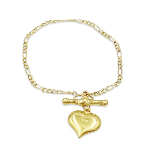9ct Gold Heart T-Bar Bracelet