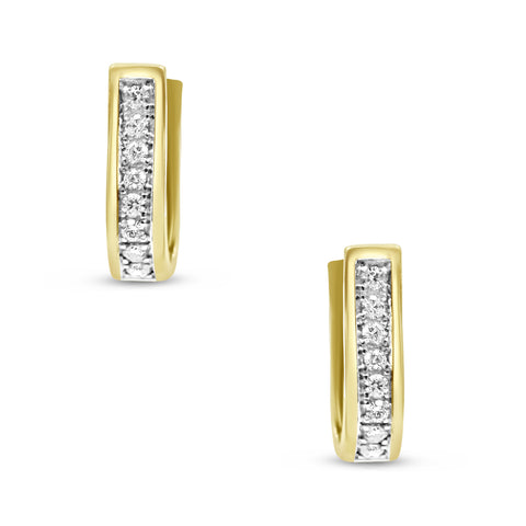 9ct Gold CZ Circle Huggie Earrings