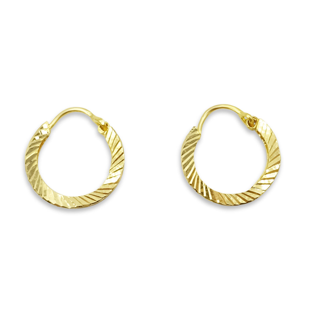 22ct Gold Small Patterned Hoops