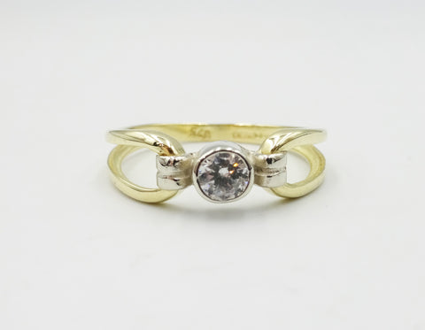 9ct Gold Rub Over Setting CZ Ring