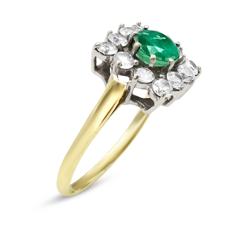 9ct Gold CZ and Green Stone Cluster Ring