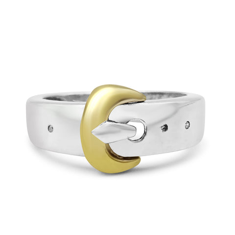 Silver Buckle Diamond Ring
