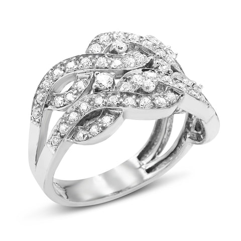 18ct White Gold CZ Cluster Ring